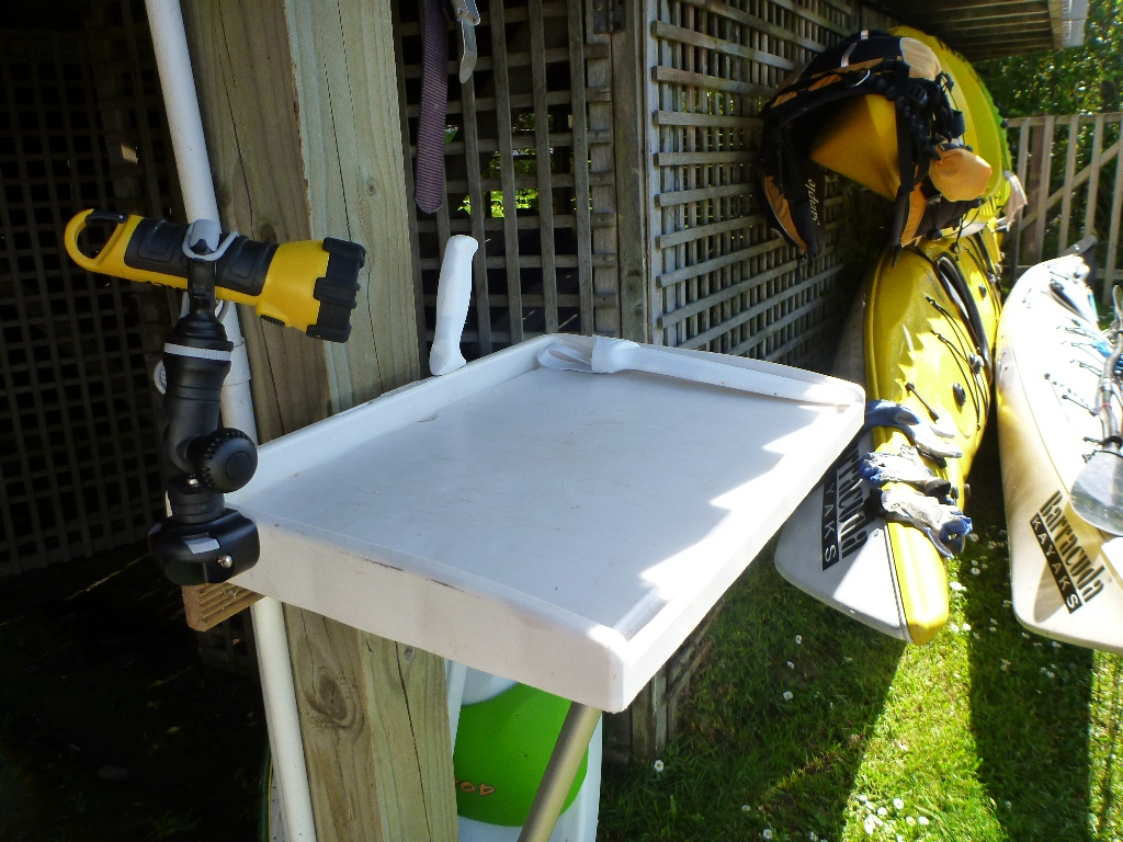 Fish fillet and work station using railblaza products for Fish fillet board