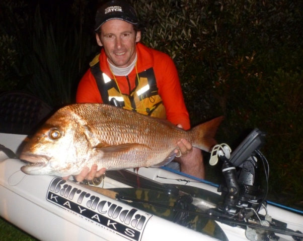 Paddle guy with 71cm snapper
