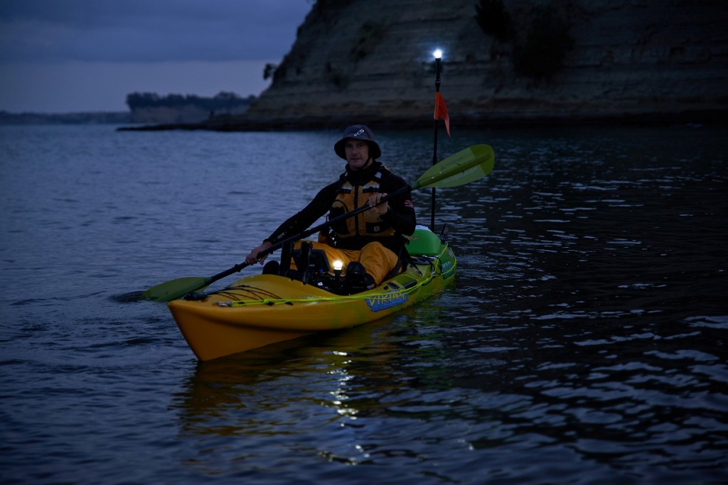 How to be seen when kayaking at night low light with for Kayak lights for night fishing